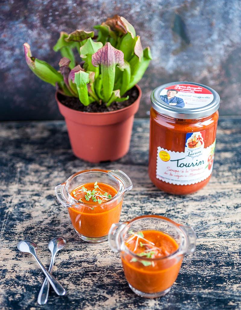 Gaspacho avec soupe de tomates Marmande