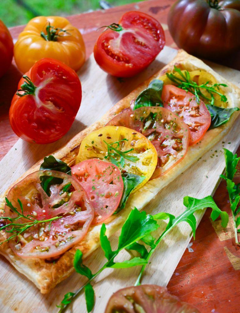 Tarte fine colorée aux tomates de Marmande